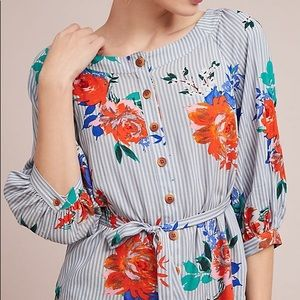 Anthropologie Floral Tie Blouse